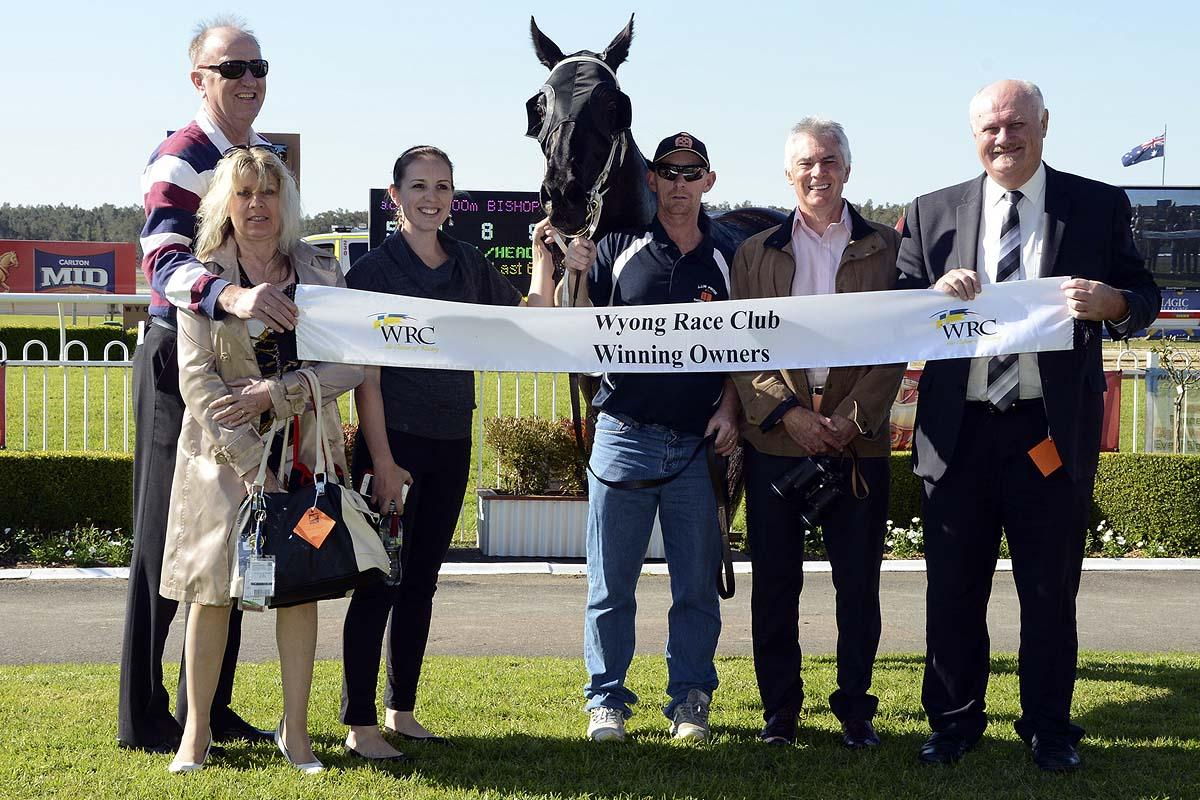 Some of the happy connections of Lonhro filly Supreme Joy after her victory at Wyong.